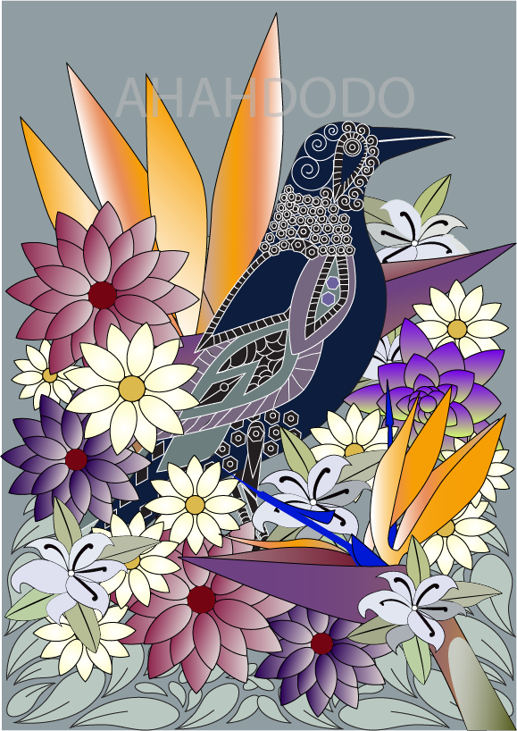 digital illustration of a magpie